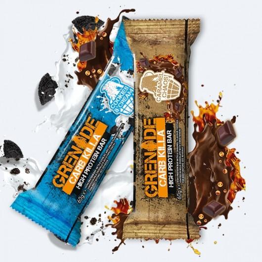 24 x 60g Grenade Carb Killa Bars (Cookies n Cream & Caramel Chaos)