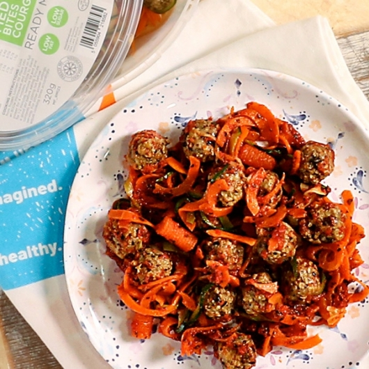 Olive and Aubergine Bites with Spiralised Veg