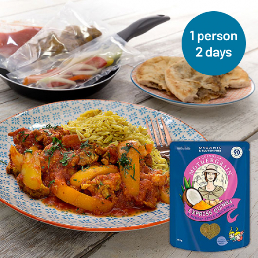 Easy express Quinoa + Chicken Balti Meal For 2 Days