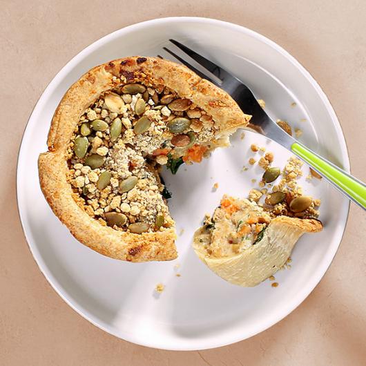 Vegan 'Chicken' Spinach & Sweet Potato Pie