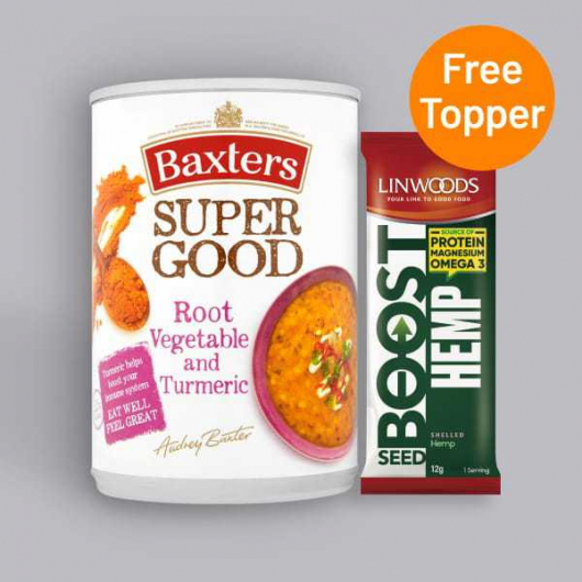 Baxters Super Good Root Vegetable and Turmeric Soup 400g + Free Seed Topper