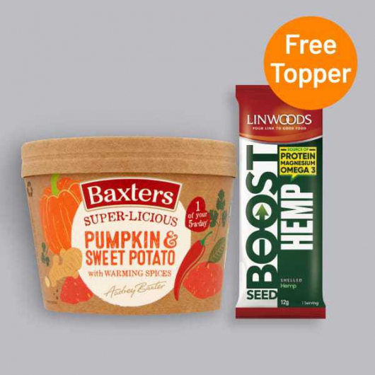 Baxters Super-licious Pumpkin & Sweet Potato Soup with Warming Spices 350g + Free Seed Topper