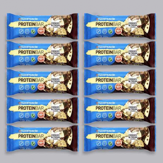 Maximuscle Protein Bar - Cookies & Cream - 10 x 55g