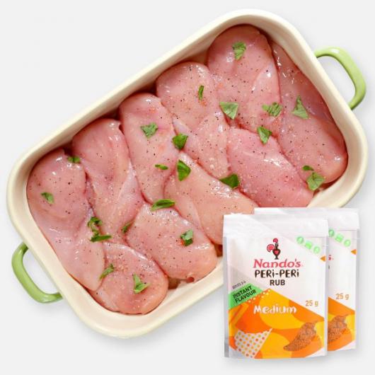 Premium Chicken Breast Fillets - 2.5kg + Free Nandos Rub