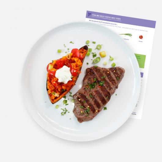 Steak and Cheesy Stuffed Sweet Potato Recipe Kit