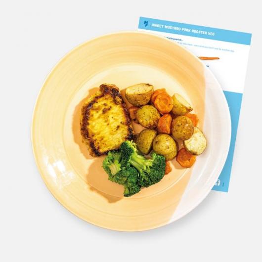 Sweet Mustard Pork with Garlic Roasted Veg Recipe Kit