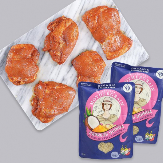 Tandoori Boneless Chicken Thighs and Indian Inspired Quinoa