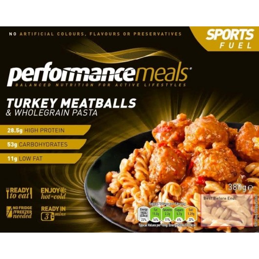 Turkey Meatballs & Wholegrain Pasta Performance Meal 380g