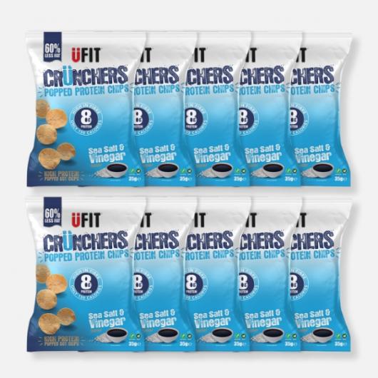 UFIT High Protein Popped Chips  - Sea Salt & Vinegar -10 x 35g