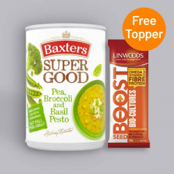 Baxters Super Good Pea, Broccoli and Basil Pesto Soup 400g + Free Seed Topper