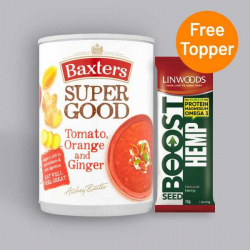 Baxters Super Good Tomato, Orange and Ginger Soup 400g + Free Seed Topper