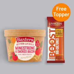 Baxters Minestrone & Smoked Bacon Soup with Orzo 350g + Free Seed Topper