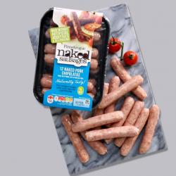 12 x 28g Finnebrogue Naked Pork Chipolata Sausages