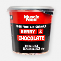MuscleFood High Protein Red Berry & Dark Chocolate Granola Pot - 60g