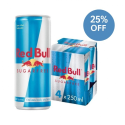 Free Red Bull Sugar Free Energy 250ml - 4 Pack