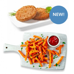Soya Free Vegit Burgers & Salt & Pepper Skin-on Sweet Potato Fries