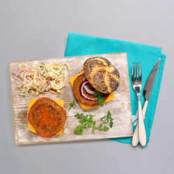 Soya Free Vegit Burgers & Salt & Pepper Skin-on Sweet Potato Fries